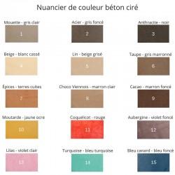 Échantillon de béton ciré coloré de couleur Lin (beige grisé)