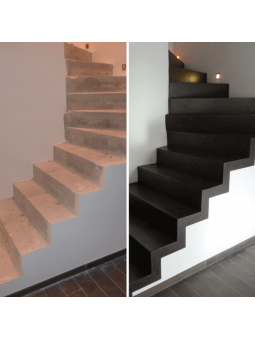Escalier avant et après la rénovation fait main avec notre kit béton ciré