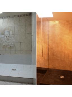 Rénovation d'un mur carrelé avec nos Kits Béton Ciré