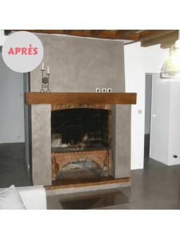 Rénovation d'une cheminée avec du Béton Ciré DIY après